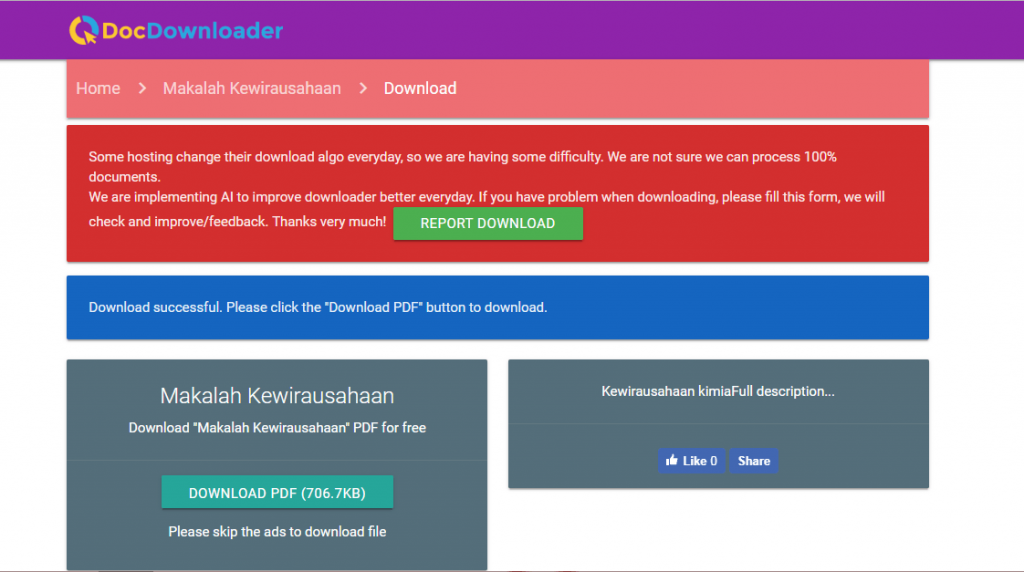 cara download file dengan DocDownloader
